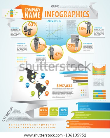 Infographics master collection: graphs, histograms, arrows, chart, 3D globe, icons and a lot of related design elements