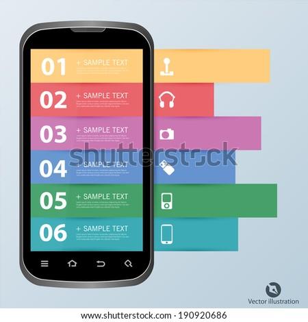 infographics mobile phone data - stock vector