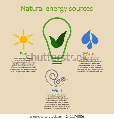 Infographics of natural energy sources. Sun, wind and water as alternative power - stock vector