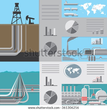 infographics of oil and gas industry distribution around the world with graph charts elements, long gas pipelines, drilling well, oil storage and gas processing station - stock vector