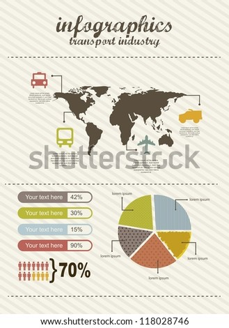 infographics of travel, vintage style. vector illustration - stock vector