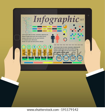Infographics on the Tablet & Hands. Vector illustration - stock vector