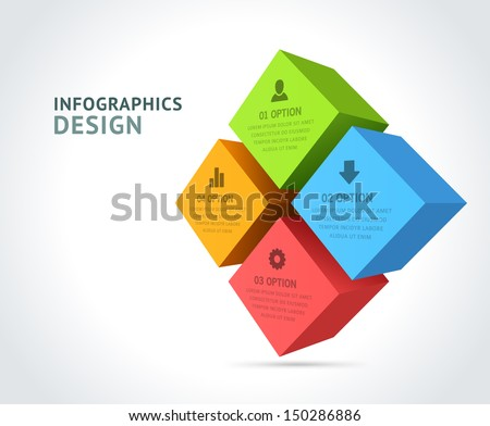 Infographics options design elements. Vector illustration. 3d cubes banner numbers and icons website eps 10.  - stock vector