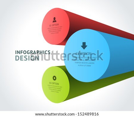 Infographics options design elements. Vector illustration. 3d rounds banner numbers and icons website eps 10. - stock vector
