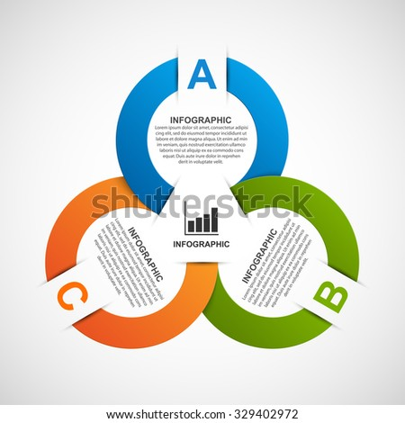 Infographics paper color ribbons design template. - stock vector