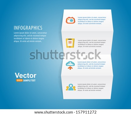 Infographics paper with icons for business presentation  - stock vector