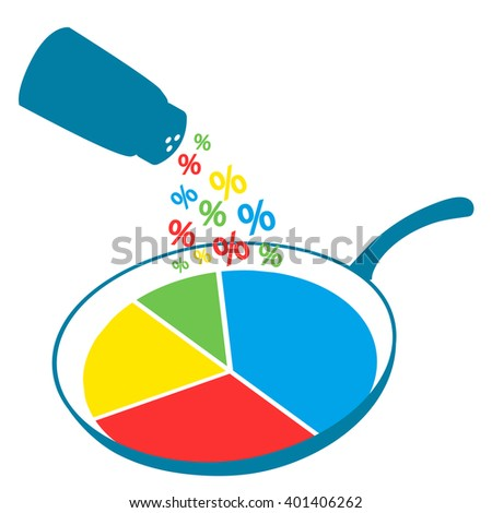 Infographics, pie chart, circle graphic imaged on frying pan being salted with percent signs. Symbolic illustration of statistics, analytics, data visualization, converting raw data into reports - stock vector