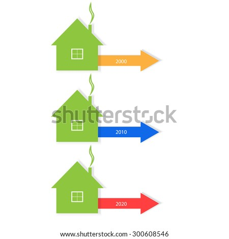 Infographics. Planning for real estate sales. The growth or decline of construction. - stock vector