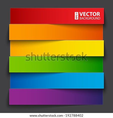 Infographics rainbow paper stripe banners with shadows on dark grey background. RGB EPS 10 vector illustration - stock vector