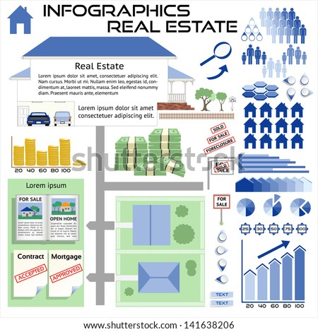 Infographics Real Estate House Sales - All objects grouped separately and easy to edit EPS10 - stock vector