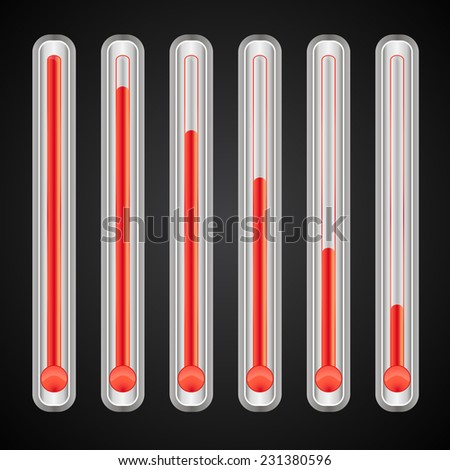 infographics, red  thermometers with different levels - stock vector