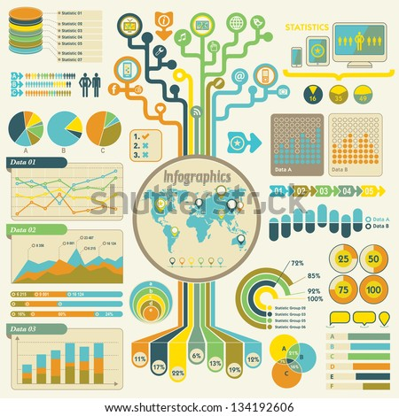 Infographics set - communication technology. Retro style. Lots o - stock vector