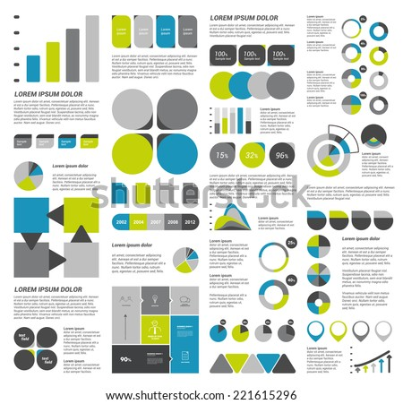 Infographics set elements. Collection of charts, diagrams, schemes, speech bubbles. Vector. - stock vector