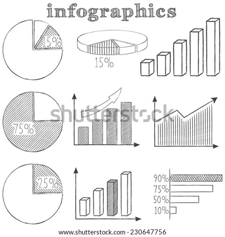 Infographics Set - Hand Drawn Style Illustration - vector EPS10 - stock vector