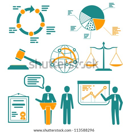 Infographics set, presentation and information elements, signs, icons - stock vector