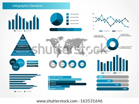 Infographics set vector illustration. World Map and Information Graphics