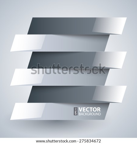 Infographics shiny white and grey paper rectangle banners with shadows on white background. RGB EPS 10 vector illustration - stock vector