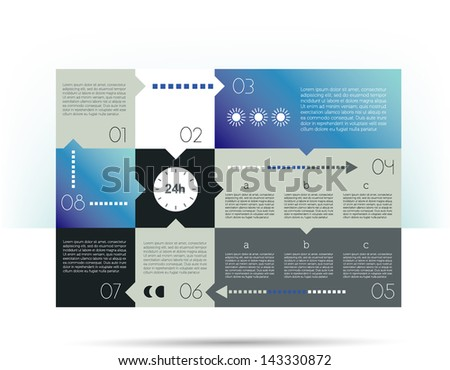 Infographics speech diagram with text fields. 24 Hours. - stock vector