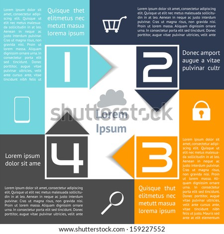 Infographics Square with Arrows Abstract Options Four Choices EPS10 named layers