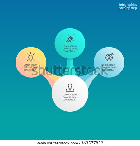 Infographics step by step with central element. Chart, diagram with 3,4 steps, options, parts, processes. Vector business template. Hierarchical infographics. - stock vector