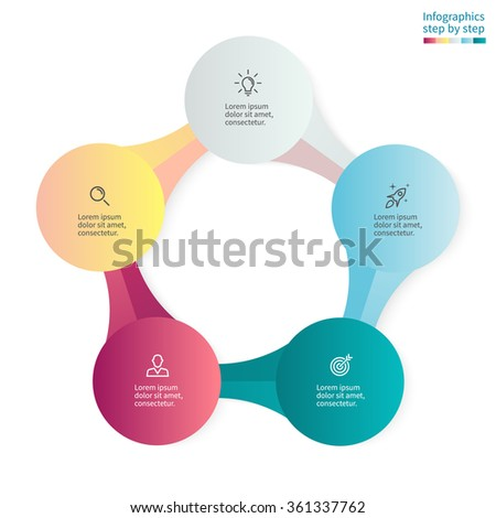 Infographics step by step with 5 connected elements. Diagram, chart, graph with 5 steps, options, parts, processes. - stock vector