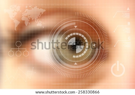 Infographics technology concept. Human eye blurred effect with virtual screen. EPS10 vector file with transparency layers. - stock vector