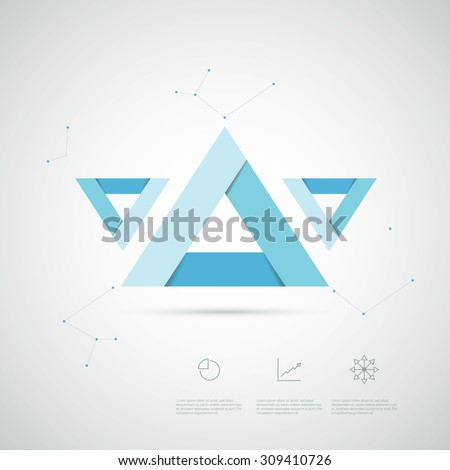 Infographics template abstract shapes. Presentation layout with triangles and charts icons. Eps10 vector illustration.