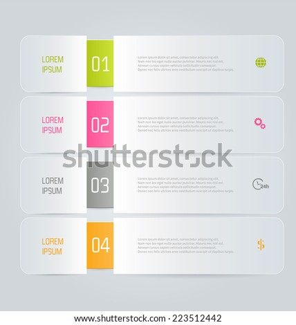 Infographics template for business, education, web design, banners, brochures, flyers. Green, pink, grey and orange colors. Vector illustration. - stock vector