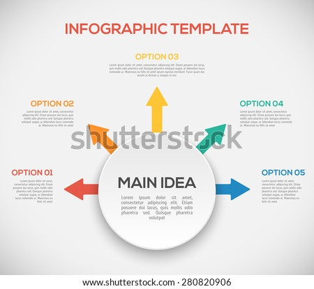 Infographics template with arrows and 3D circle. Different Way Infographics. - stock vector