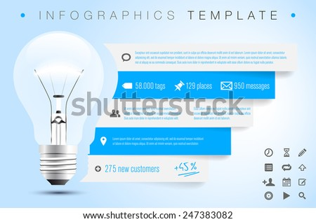 Infographics template with bulb, icons and sample text - vector illustration - stock vector