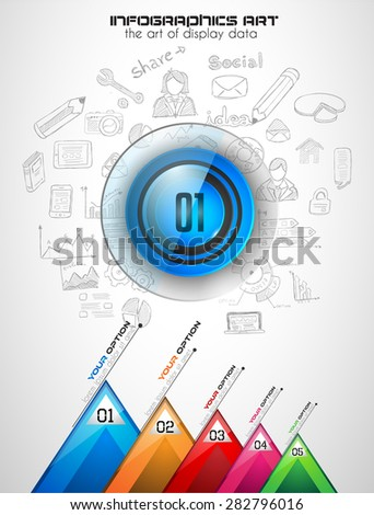 Infographics template with 4 choices layout connected to the center. Conceptual design made to chose the best idea or item between 4 choice available. Hand draw editable sketches background included. - stock vector