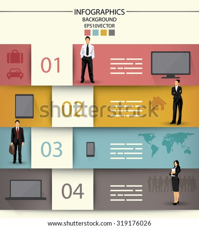 Infographics template with four fields and icons of electronic equipment and business people - stock vector