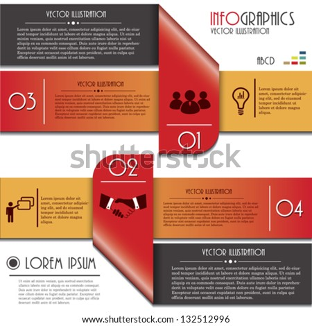 Infographics template with letters and numbers. Vector illustration - stock vector