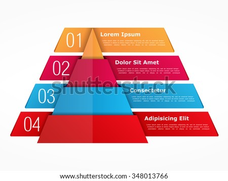 Infographics template with pyramid with four elements with numbers and text, vector eps10 illustration - stock vector