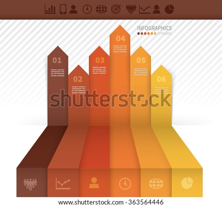 Infographics template with six arrows pointing upwards - stock vector