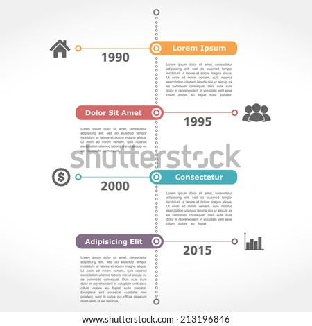 Infographics timeline template, flat design, vector eps10 illustration - stock vector
