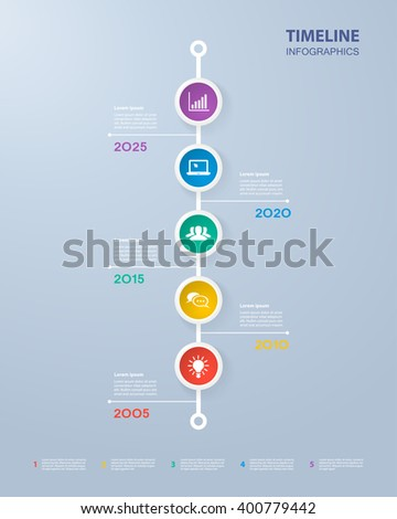 Infographics timeline template with realistic colorful circles for 5 steps and icons. Can be used for workflow layout, diagram, number options, step up options, web design, infographics, presentations - stock vector