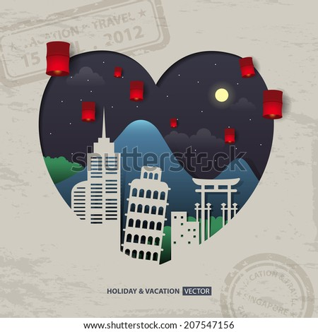 infographics Travel and Vacation concept elements in heart shape.