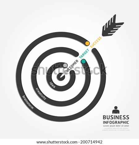 infographics vector business arrow design. customer target concept diagram line style template - stock vector