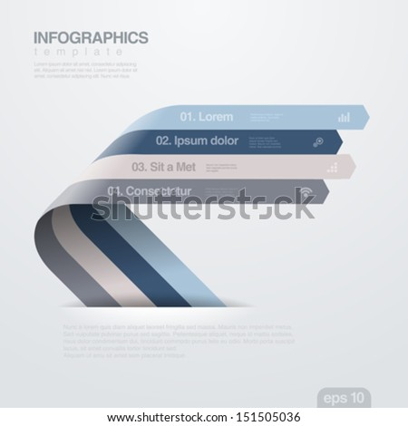 Infographics vector design template. Creative trendy ribbon flat style. Useful for business and financial report. - stock vector