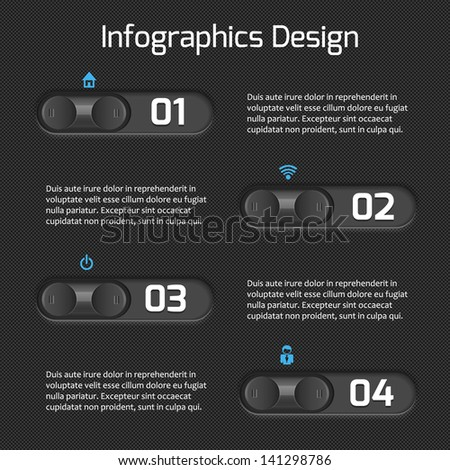 Infographics web design for your business ideas. Modern interface template. Numbered options. Vector illustration.