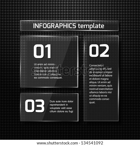 Infographics web design. Modern  glass template. Numbered options. Vector illustration - stock vector