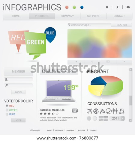 Infographics web template. All elements of web page are editable. easy assemble. - stock vector