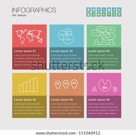 Infographics with a set of beautiful components featuring the flat design trend. Modern  - stock vector
