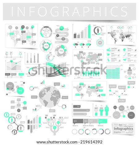 Infographics with data icons, world map charts and design elements. Vector illustration. - stock vector