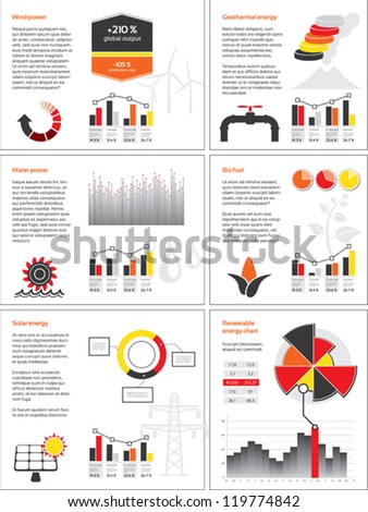 Infographics with graphs and charts for renewable energy - stock vector
