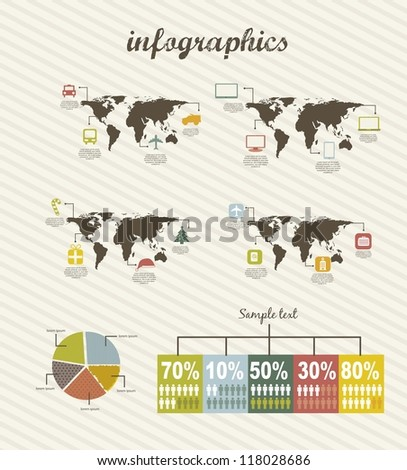 infographics with icons, vintage style. vector illustration - stock vector