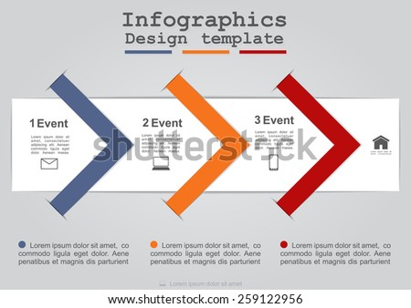 Infographics with paper arrows. Vector illustration Eps 8. - stock vector