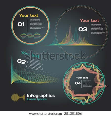 infographics with sound waves on a dark background - stock vector