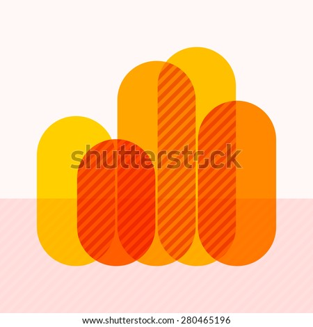 Infographics with waving yellow overlapping bars and marked sectors - stock vector